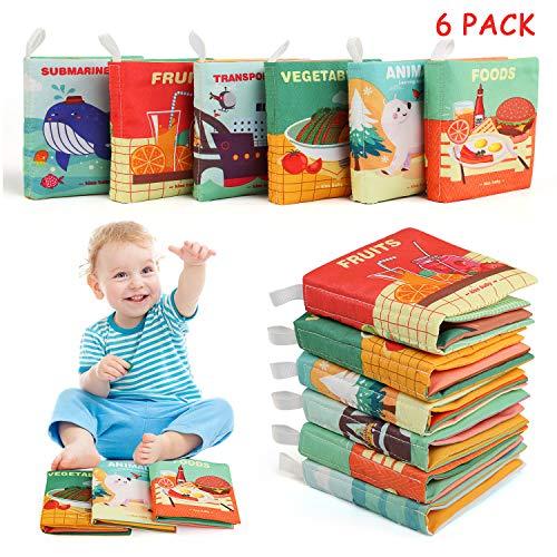 BelleStyle Stoffbuch für Babys, 6 Stück Soft-Bilderbuch Baby Spielzeug Pädagogisches Entdeckungsbuch Fühlbuch für Baby Badebuch für Babyparty Kinderwagen Spielzeug Eltern-Kind Interaktives Spielzeug