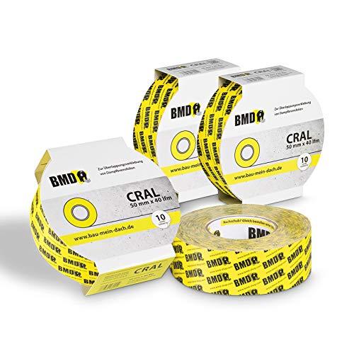 4x BMD - cral Hochleistungsklebeband (Gelb - 50mm x 40lfm) zur Verklebung von Dampfsperrfolie Dampfbremsfolie nach DIN Norm 4108 Teil 7 OSB Klebeband…