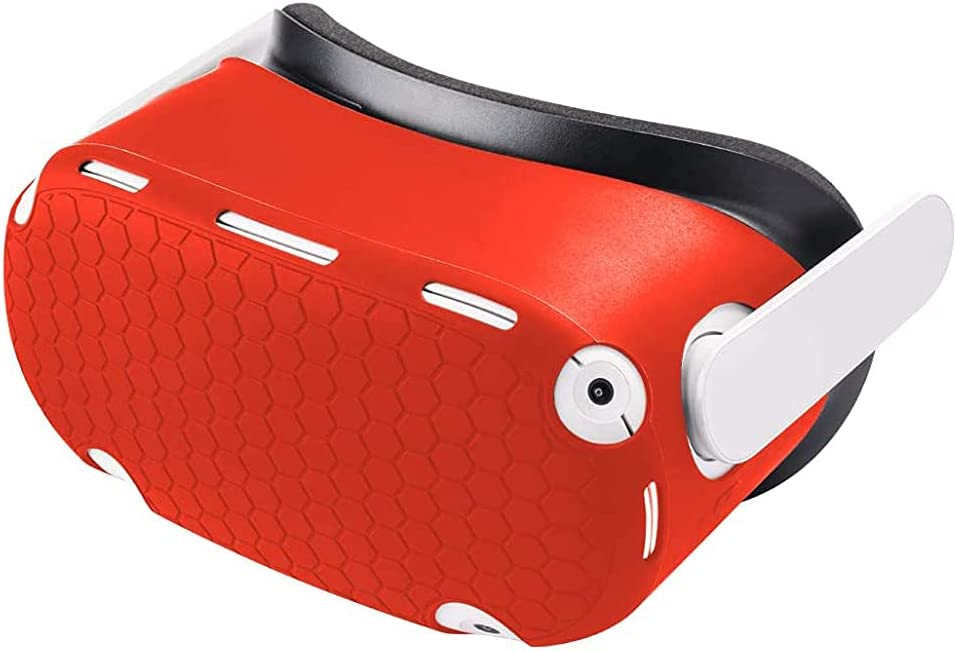 VR Shell Accessories for Oculus Quest 2 Front Face Protector Cover Anti Scratch Dust Proof Anti-Shock (red)