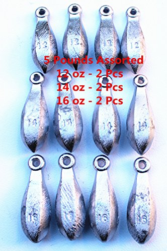 Kathy store INC Bulk Bullet Weights Bank Fishing Sinkers - Assorted Weights (5 LB-12oz ozoz)+ Free Small Scissors