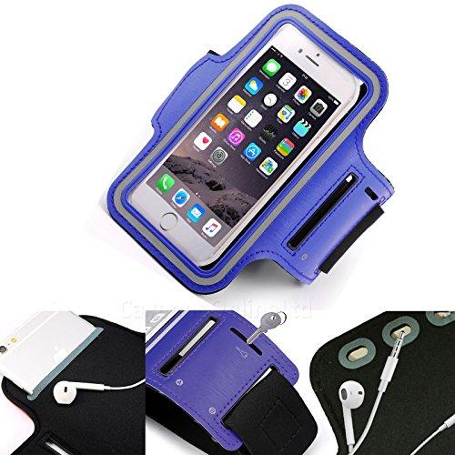DOT. Soporte universal para teléfono celular, resistente al sudor, correr, deportes, gimnasio, brazalete, para ZTE Blade L130 o cualquier pantalla de hasta 5,1 pulgadas, soporte para llaves, correa ajustable, color azul