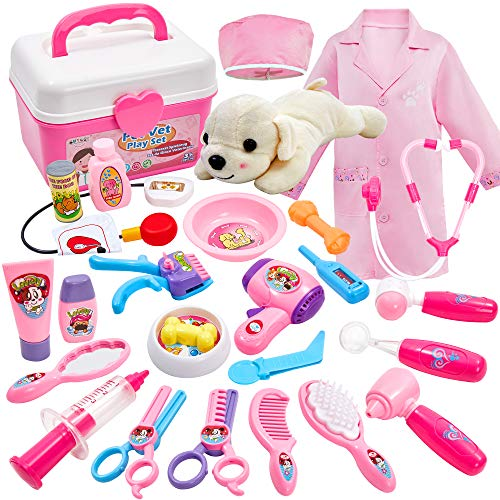Buyger 26 PCS Play Vet Doctor Set Princess Dress Up Costume for Girl Pet Dog Care Toy Carry Case for Children (Pink)