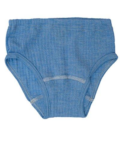 Cosilana, Kinder Slip/Unterhose hoher Beinausschnitt, 45% KBA Baumwolle, 35% kbT Wolle, 20% Seide (116, Blau Meliert)