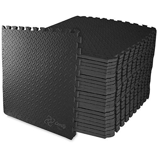 ComFy Mat Puzzle mata do ćwiczeń, płytki z pianki EVA, podłogi ochronne do siłowni i ćwiczeń, grubość 10 mm (pokrywa 16 m²) / czarna, 4 płytki