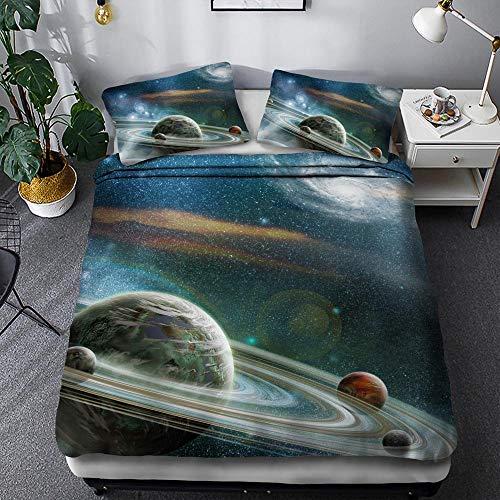 BIANXU Bettbezug Raum Sternenmuster Bettbezug Und Kissenbezug Für Kinderzimmer200*200Cm+2 Pillowcase(50 * 75Cm)
