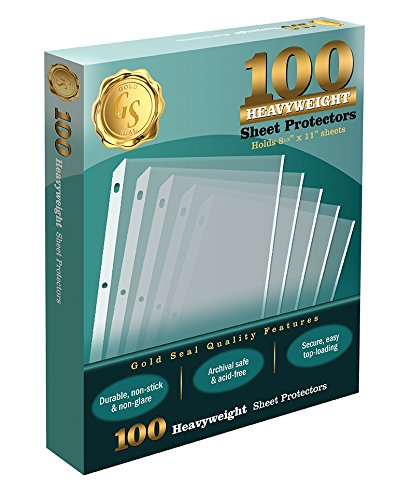 100 Clear Heavyweight Poly Sheet Protectors by Gold Seal, 8.5 x 11