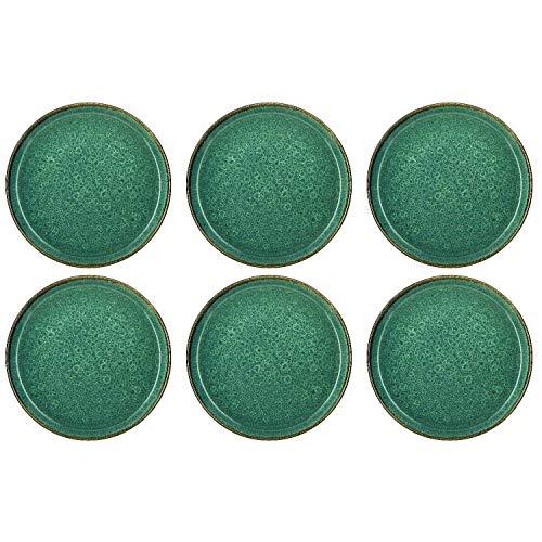 BITZ 821252 Dia Speiseteller, Ø 27 cm, Steinzeug, handgearbeitet, grün (6 Stück)