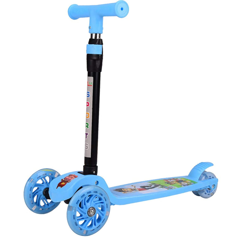 子供用キックスクーター 調節可能 3輪キックスクーター 取り外し可能 LEDライトプーリー 2歳から6歳の男の子と女の子用