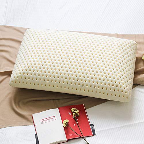 Talalay Almohada de látex natural, 100% algodón orgánico, almohada de cama de apoyo medio para dormir, para espalda, ayuda a aliviar la presión, el dolor de cuello y hombros.