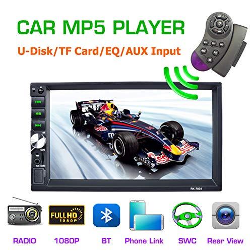 QLPP 7-Zoll-Autoradio MP5-Player 12 V 50 W * 4 Multimedia-Player MP5 FM-Player mit Radio-Tuner, AUX-Funktion, 1080P-Video-Player-Unterstützung, BB