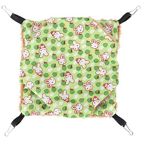 Sugar Glider Hangmat, Winter Warm Double Layer Pet Cage Nest Hangmat Hangend Schommelbed voor Hamster Eekhoorn Rat Gerbil Dwerghamster(Groen)