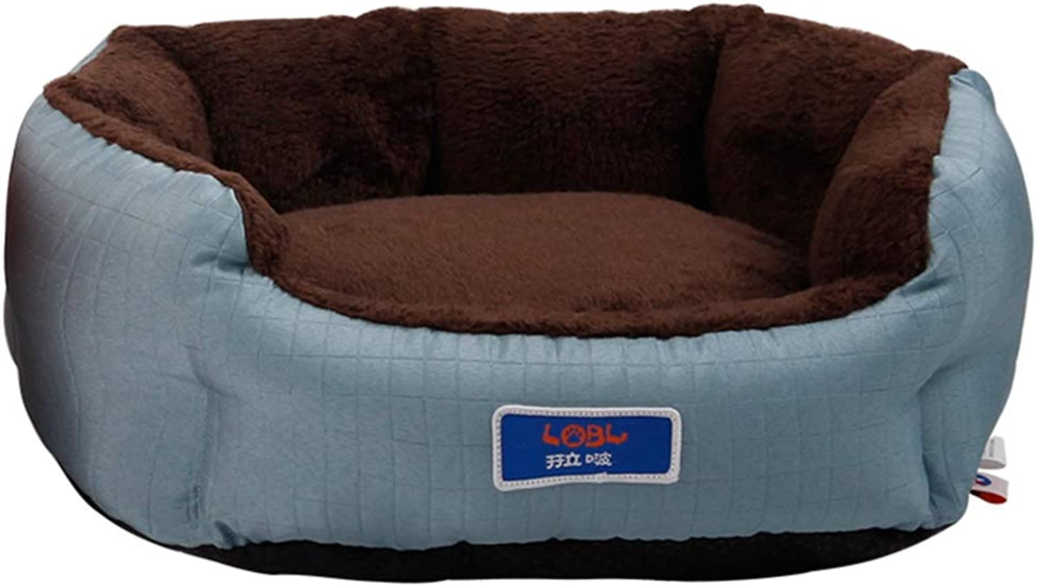 LXLA  Luxurious Grooved Comfortable Cat Dog Bed Basket, Washable Cover & Anti Slip Base (color   bluee, Size   M 51×45×18cm)