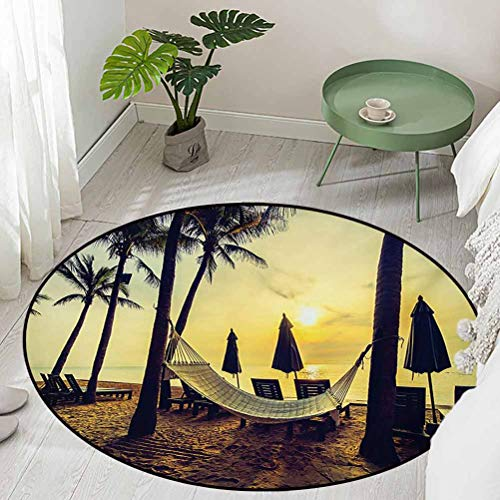 Round Bathroom Floor mats Photo of Empty Hammock on Beach at Sunrise Time with Coconut Palm Tree Exotic Print Diameter 78 inch Living Room Rugs