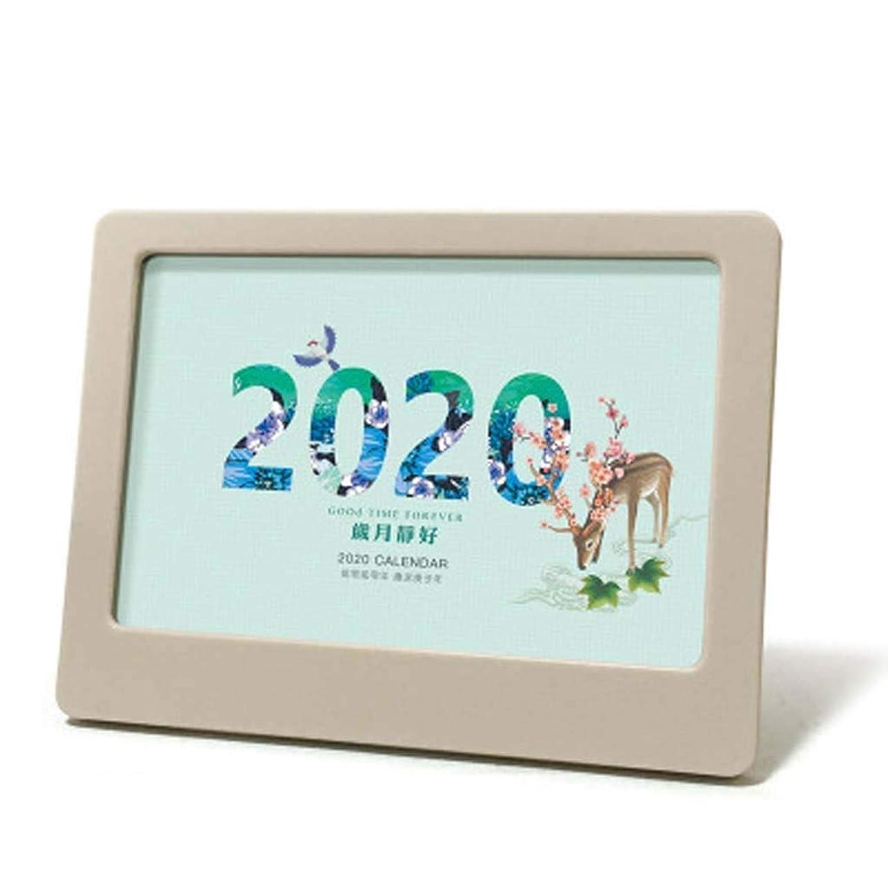 円形のただフォーカス卓上カレンダー2020古典的なオフィスのデスクトップの装飾フォトフレームカレンダー家族の装飾は、携帯電話17センチメートル* 12.5センチメートルを置くことができます (色 : 青)