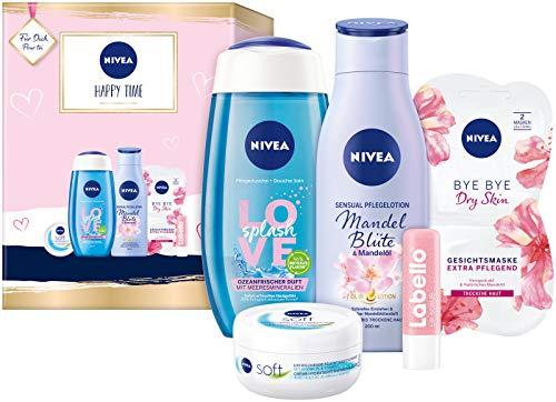 NIVEA Happy Time Geschenkset, Set mit Body Lotion, Pflegedusche, NIVEA Soft Creme, Gesichtsmaske und Labello Lip Scrub, Pflegeset voller Verwöhnmomente zum Verschenken