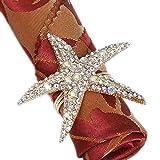 Joyindecor Crystal Starfish Napkin Rings - Set of 6 Rhinestone Ocean Coastal Nautical Napkin Ring Holders for Wedding Party, Beach Table Decor