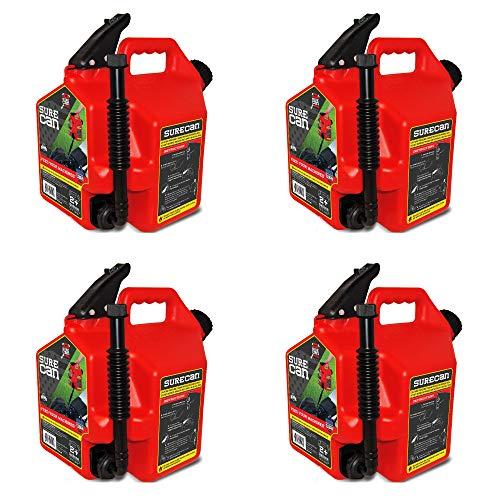 SureCan Venting Easy Pour Nozzle 2 Plus Gallon Flow Control Gas Can (4 Pack)