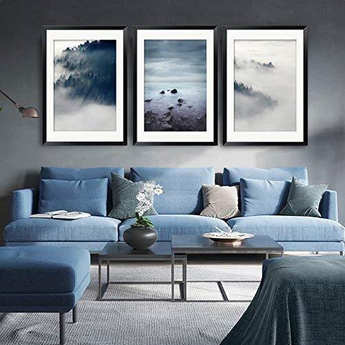 Afbeelding Schilderij Stijl Muur Mooie Kamer Frame Vochtbestendig Decoratieve Achtergrond Ophangende Mural Set Wolken Drievoudige Prijslijst Dierenkop
