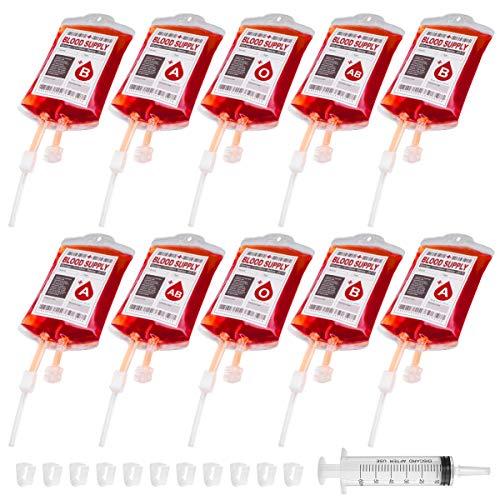 HEALLILY Bolsas de Sangre de Halloween Bolsa de líquido Reutilizable favores de Fiesta Zombie para Bebidas Bebidas Jugo con Clips jeringa y Pegatinas 10 Piezas