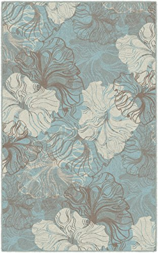 Brumlow Mills Grace Contemporary Modern Floral Blue Area Rug for Bedroom Carpet, Living Room Decor, Dining, Kitchen or Entryway Rug, 2'6' x 3'10'