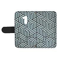 スマQ LG Style2 L-01L 国内生産 カード スマホケース 手帳型 LG エルジー エルジー スタイル ツー 【E.ブルー】 トリックアート風 シンプル ami_vd-0274