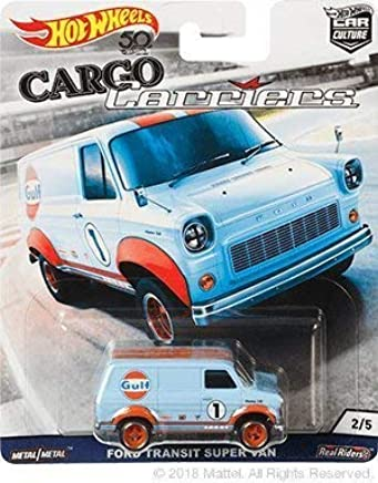 HOT WHEELS 2018 Release Cargo Carriers Light Blue Gulf Ford Transit Super Van DIE-CAST