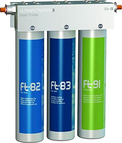 Puricom FT-LINE 3. Sistema de filtro de agua de carbón activo con filtración UFC, sin grifo, incluye conector adecuado para Sprudel-Lok, Sprudelux, Sprudelux, Sprudler, sistemas de aireación