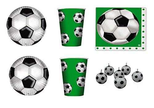 koordinierten Kinder Sport Fußball-Geburtstag Ereignisse Dekorationen Tisch Party–Kit N ° 9cdc- (10Teller, 10Becher, 16Servietten, 6Kerzen Form Fußball)