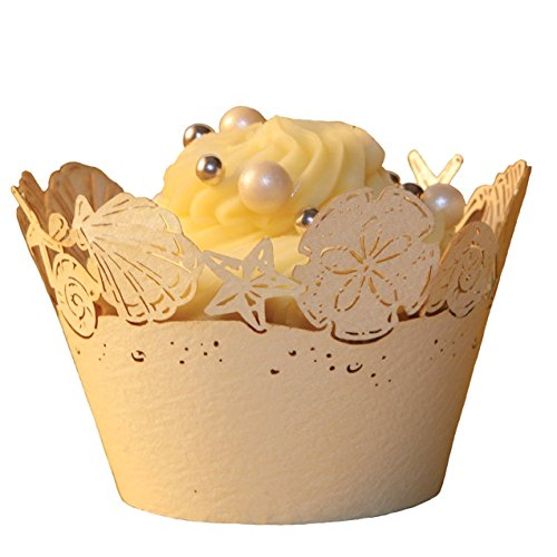 Worldoor Pack of 48 PCS Ivory Pearlescent Paper Beach Themed Wedding Sea Shells Seashell Cupcake Wrappers Seashells Regular Cupcake Wrapper Baby Shower Wedding Party Cake Liners Decoration ( Ivory )