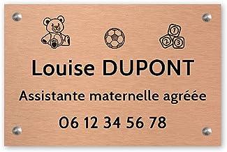 Personaliseerbaar bord voor kleuterschoolassistent, personaliseerbaar, 30 x 20 cm, zwart koper, schroeven + pluggen + schr...