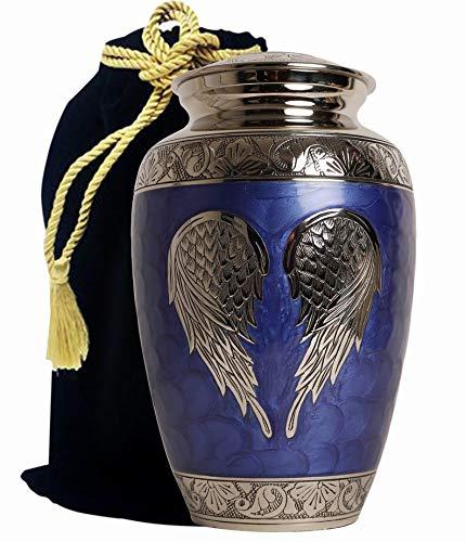 Wood Carving International - Alas de ángel, urnas para cenizas - Urnas de cremación funeraria para cenizas adultas - Recuerdo, urnas de aluminio
