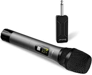 Wireless Microphone, UHF Handheld Dynamic Karaoke Microphone System with Rechargeable Receiver, 260ft Range, 1/4'' Plug, for Speakers, DJ, Amplifier, PA System, Singing Machine, Mixer (Metal)