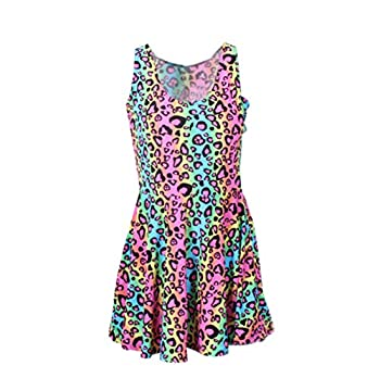 Neon Rainbow Leopard Cheetah Print Knee Length Mini Dress Rave Party Fun  Medium