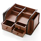 MyGift Classic Brown Wood Office Supplies Desk Organizer Rack with 3 Drawers, 3...