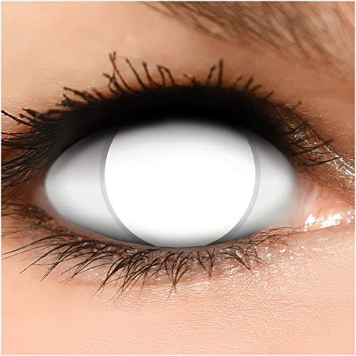 Funzera® Lenti a contatto colorate Blind White con portalenti - non corrette, in confezione da due: comode da indossare e ideali per Halloween o Carnevale