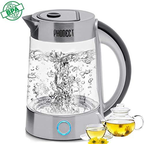 PHONECT Hervidor de Agua Eléctrico,2200W Hervidor de Cristal rápido, con Iluminación Led de 1,7 litros de Capacidad, Libre de BPA, Doble Sistema de Seguridad,Filtro Antical.Acero Inoxidable.