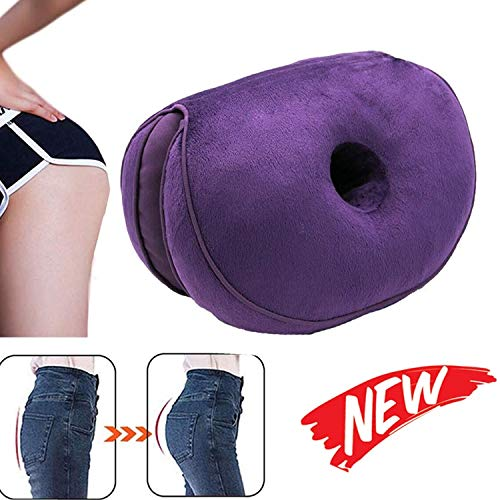 CATSAYS Dual Comfort Cushion Lift Hips Up Multifunction Folding Beauty Butt Posture Correcting Cushions for Pressure Relief, Fits in Car Seat, Home, Office (Purple)