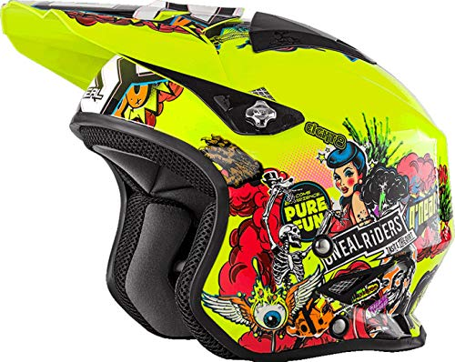 O'NEAL | Casco de Moto | Enduro Street Adventure | Fibra de Vidrio Ligera | Forro Desmontable y Lavable | Cierre magnético | Slat Helmet Crank | Adultos | Amarillo neón | Talla S