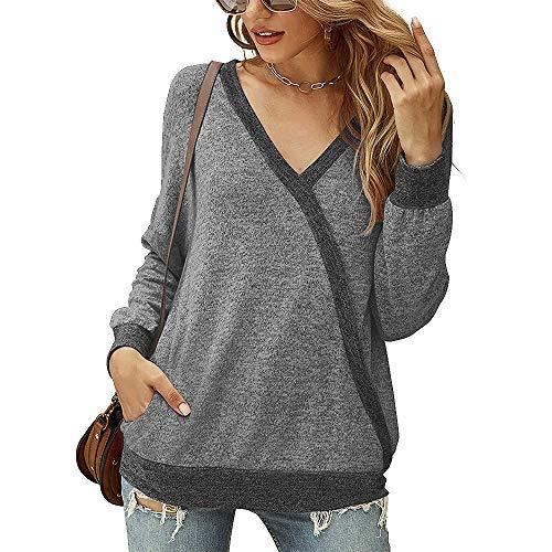 OrientalPort Damen V-Ausschnitt Langarmshirt Casual Kontrastfarbe Langarm Wickel Tunika Bluse Lose Dünn Pullover Sweatshirt Oberteile-Grau-L