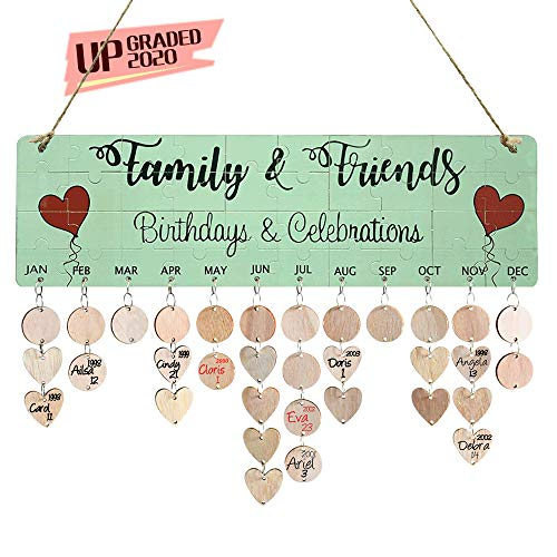 YuQi Gift for Wife Women- Family Birthday Reminder Calendar Board with Tags, Wooden DIY Perpetual Birthday Calendar Plaque Wall Hanging Decor for Valentine Day Christmas Halloween Presents