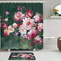 WOTAKA シャワーカーテン バスマット 2点セット ピンクのバラの花の花の春の季節 自家 寮用 ホテル 間仕切り 浴室 バスルーム 風呂カーテン 足ふきマット 遮光 防水 おしゃれ 12個リング付き