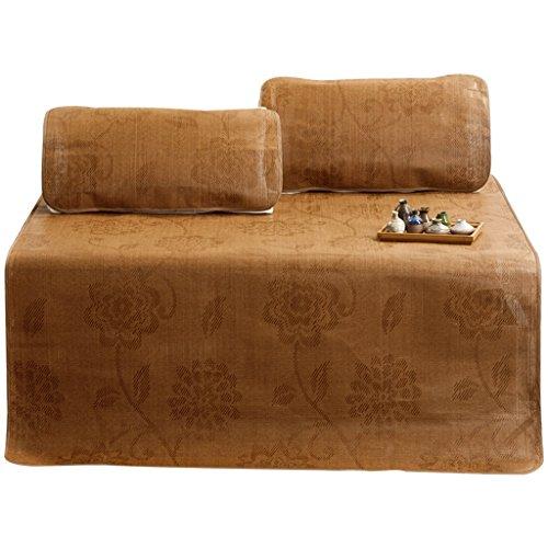 Mat 1.8 M lit de soie de glace de lit trois pièces double 1.5 mètres tapis de paille d'été rotin siège 1.2 tapis pliant d'été Xuan - worth having (taille : 100 * 195cm)