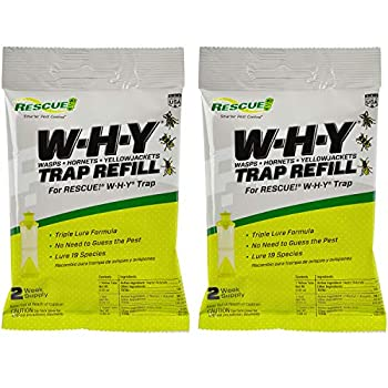 RESCUE! Non-Toxic Wasp Hornet Yellowjacket Trap  WHY Trap  Attractant Refill - 2 Week Refill - 2 Pack