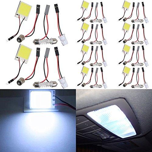 TABEN Lot de 10 puces COB 48 SMD LED blanc froid Lampe de lecture d'intérieur de voiture DC 12 V avec adaptateurs T10/BA9S/Festoon 12–24 V