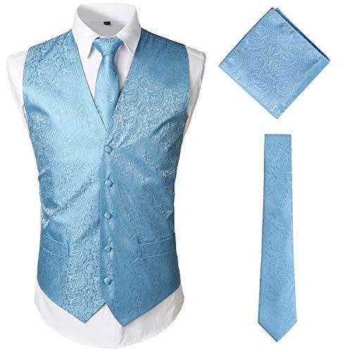 JOGAL Herren Paisley Jacquard Weste Krawatte Einstecktuch Weste Anzug Smoking Set Medium TiffanyBlau