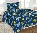 Linen Plus Sheet Set for Boys Dinosaur Dark Blue Green Grey New (Twin)