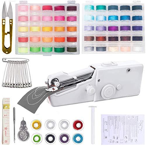 QAQGEAR Máquina de coser de mano, con 50 líneas de color Mini máquina de coser portátil Práctica máquina de coser portátil inalámbrica para tela, ropa de bricolaje o tela para niños Uso en viajes