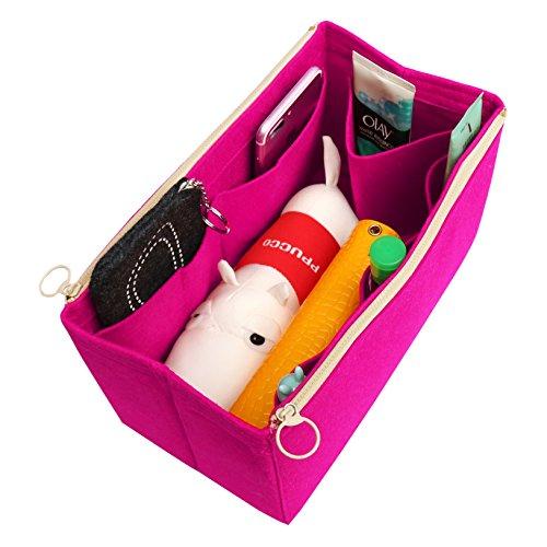 [Past op verschillende vakken, L.V. Her.MES Long Champ Go.Yard Vilten Tote Organizer (met afneembare ritszak), portemonnee invoegen, cosmetica-make-up luier-handtas, tassen, roze (violet) - FELTD-131-Rose