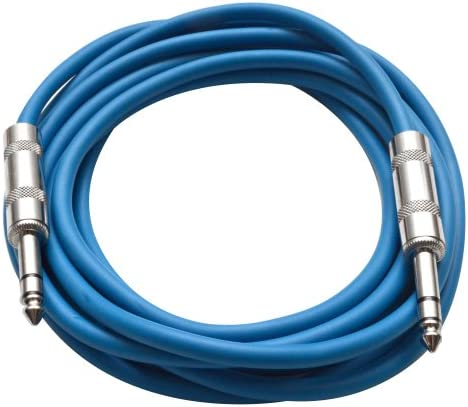Seismic Audio SATRX 10 Blue 10 1 4 TRS to 1 4 TRS Patch Cable product image