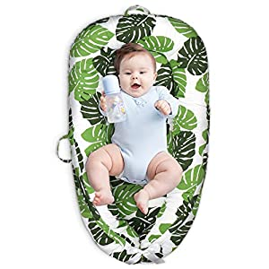Cosy Nation Baby Lounger, Baby Nest for Co Sleeping – Portable Newborn Lounger – 100% Breathable Canvas Fabric & Soft Fiberfill, Crib & Bassinet in Bed, Great for Napping and Traveling(Leaves)